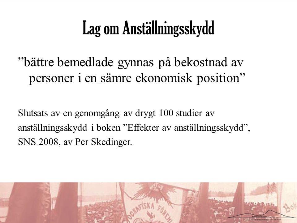 Lag om Anställningsskydd bättre bemedlade gynnas på bekostnad av personer i en sämre ekonomisk position Slutsats av en genomgång av drygt 100 studier av anställningsskydd i boken Effekter av anställningsskydd , SNS 2008, av Per Skedinger.