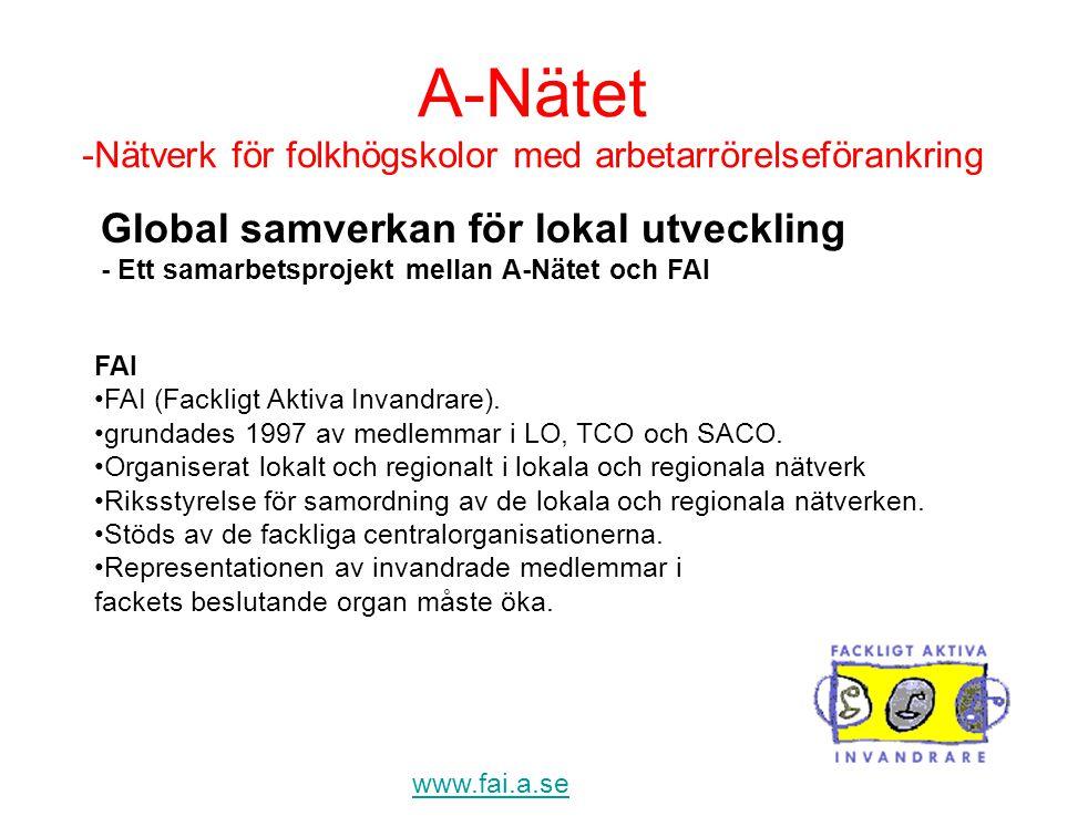 A-Nätet -Nätverk för folkhögskolor med arbetarrörelseförankring www.fai.a.se FAI •FAI (Fackligt Aktiva Invandrare). •grundades 1997 av medlemmar i LO,