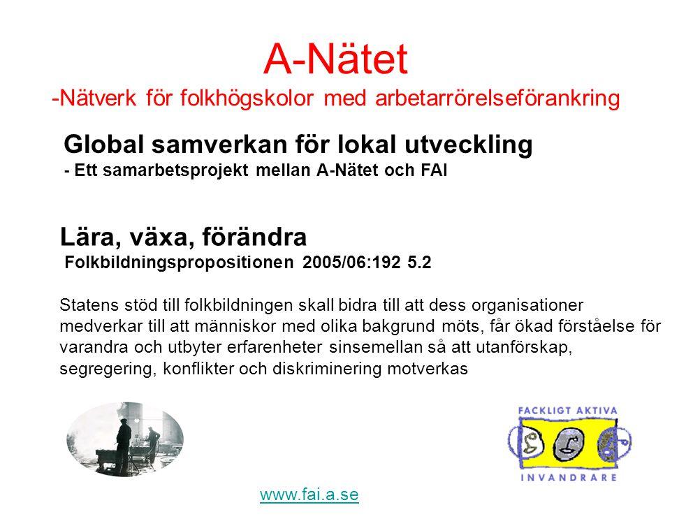 www.fai.a.se Lära, växa, förändra Folkbildningspropositionen 2005/06:192 5.2 Statens stöd till folkbildningen skall bidra till att dess organisationer