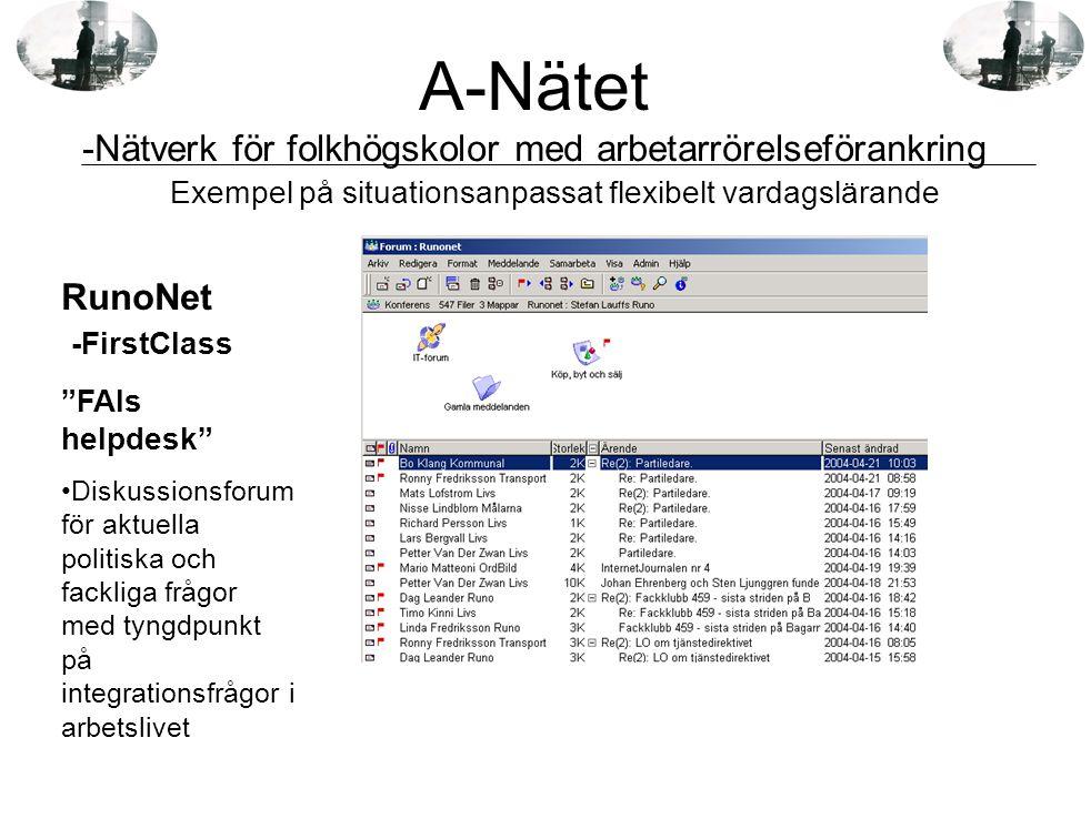 """RunoNet -FirstClass """"FAIs helpdesk"""" •Diskussionsforum för aktuella politiska och fackliga frågor med tyngdpunkt på integrationsfrågor i arbetslivet Ex"""