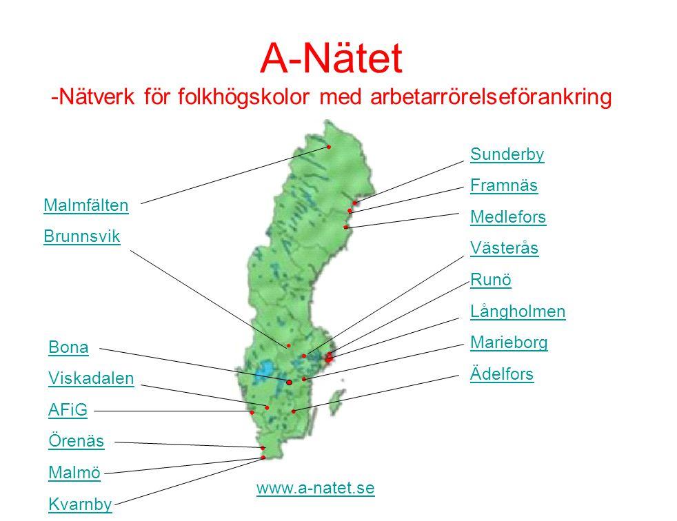 www.a-natet.se A-Nätet •A-Nätet bildades under 2004 - 16 folkhögskolor med arbetarrörelseförankring.