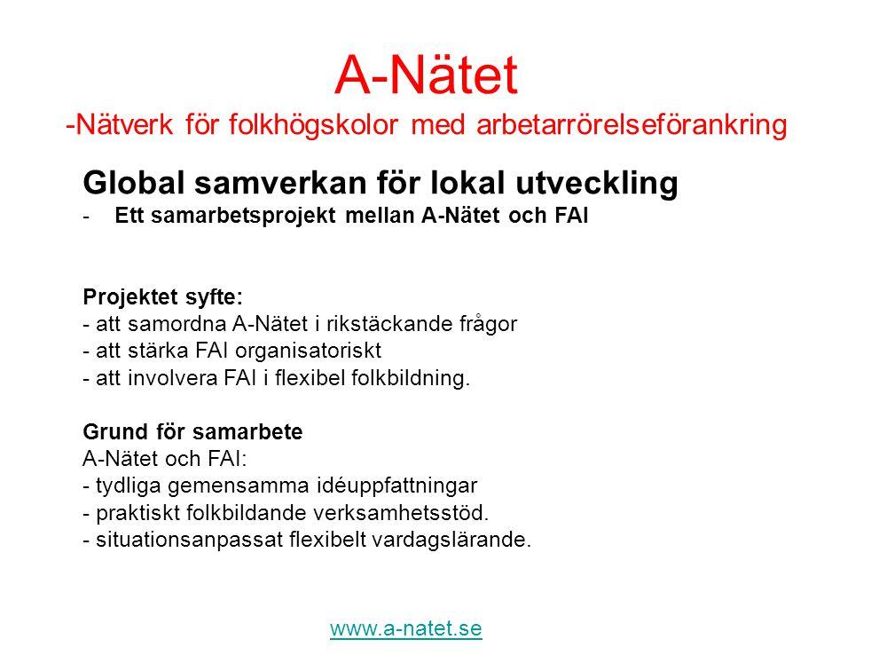 A-Nätet -Nätverk för folkhögskolor med arbetarrörelseförankring www.a-natet.se Global samverkan för lokal utveckling -Ett samarbetsprojekt mellan A-Nä