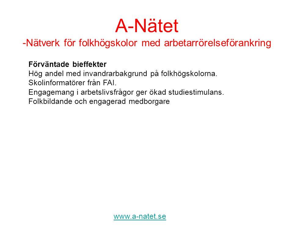 A-Nätet -Nätverk för folkhögskolor med arbetarrörelseförankring www.a-natet.se Förväntade bieffekter Hög andel med invandrarbakgrund på folkhögskolorn