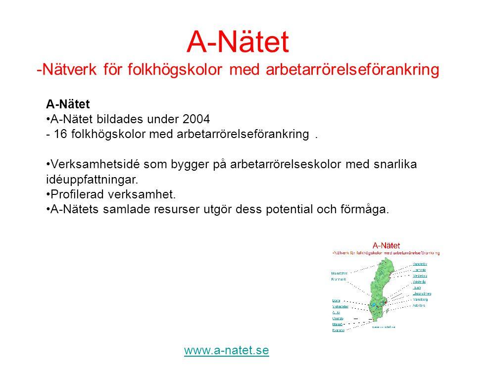 www.a-natet.se A-Nätet •A-Nätet bildades under 2004 - 16 folkhögskolor med arbetarrörelseförankring. •Verksamhetsidé som bygger på arbetarrörelseskolo
