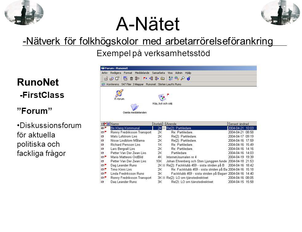 """RunoNet -FirstClass """"Forum"""" •Diskussionsforum för aktuella politiska och fackliga frågor Exempel på verksamhetsstöd A-Nätet -Nätverk för folkhögskolor"""