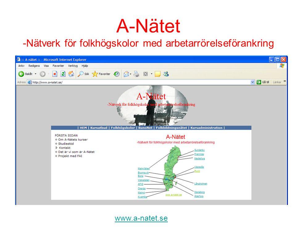 A-Nätet -Nätverk för folkhögskolor med arbetarrörelseförankring www.a-natet.se Global samverkan för lokal utveckling -Ett samarbetsprojekt mellan A-Nätet och FAI Projektet syfte: - att samordna A-Nätet i rikstäckande frågor - att stärka FAI organisatoriskt - att involvera FAI i flexibel folkbildning.