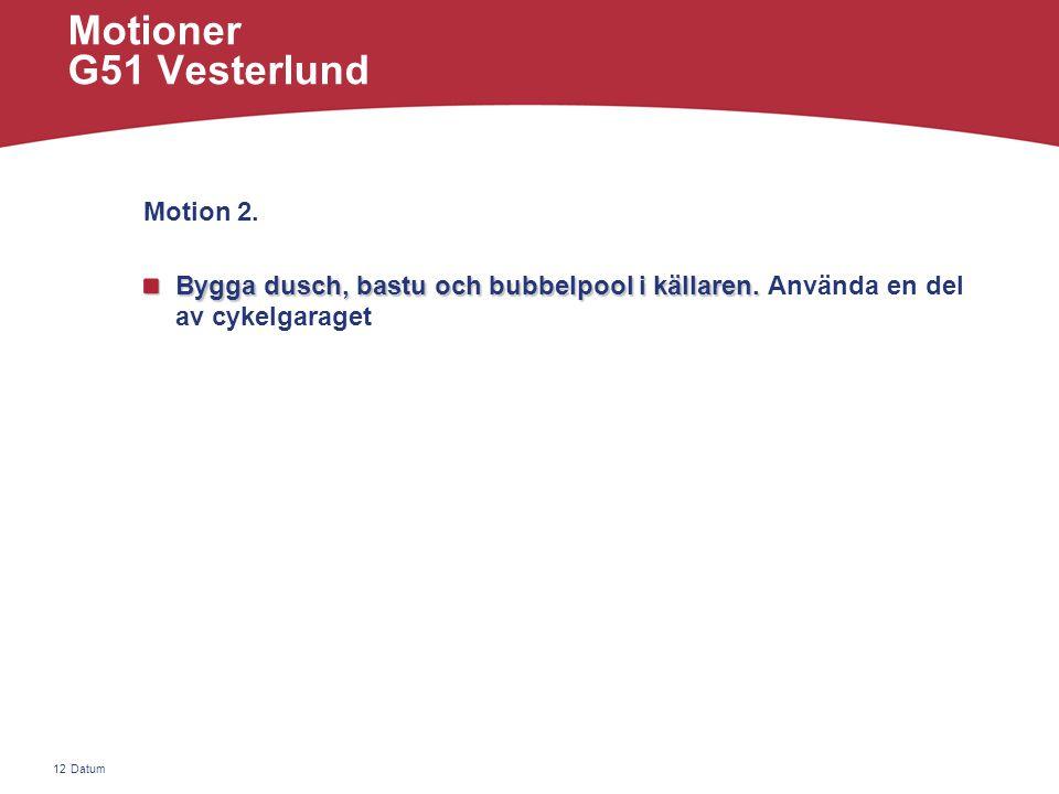 Datum12 Motioner G51 Vesterlund Motion 2. Bygga dusch, bastu och bubbelpool i källaren.