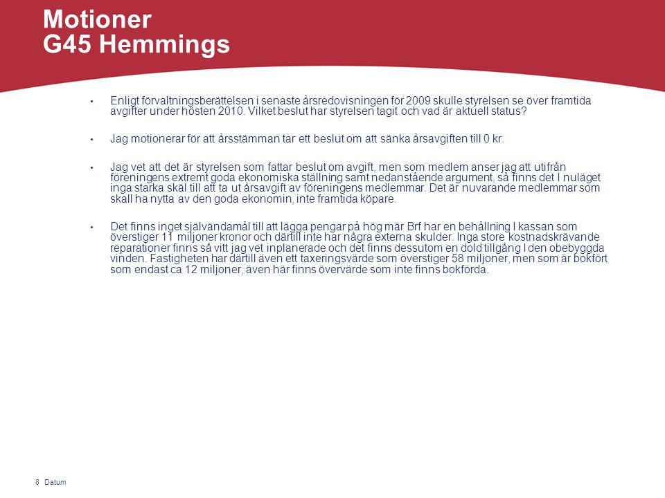 Datum8 Motioner G45 Hemmings • Enligt förvaltningsberättelsen i senaste årsredovisningen för 2009 skulle styrelsen se över framtida avgifter under hösten 2010.
