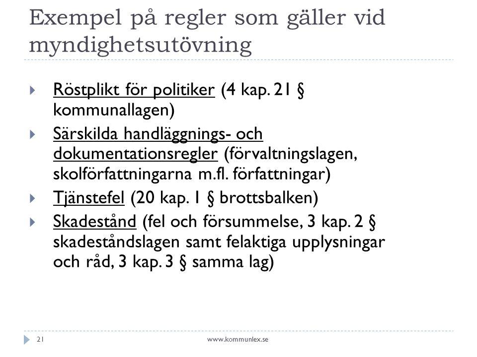 Exempel på regler som gäller vid myndighetsutövning  Röstplikt för politiker (4 kap.