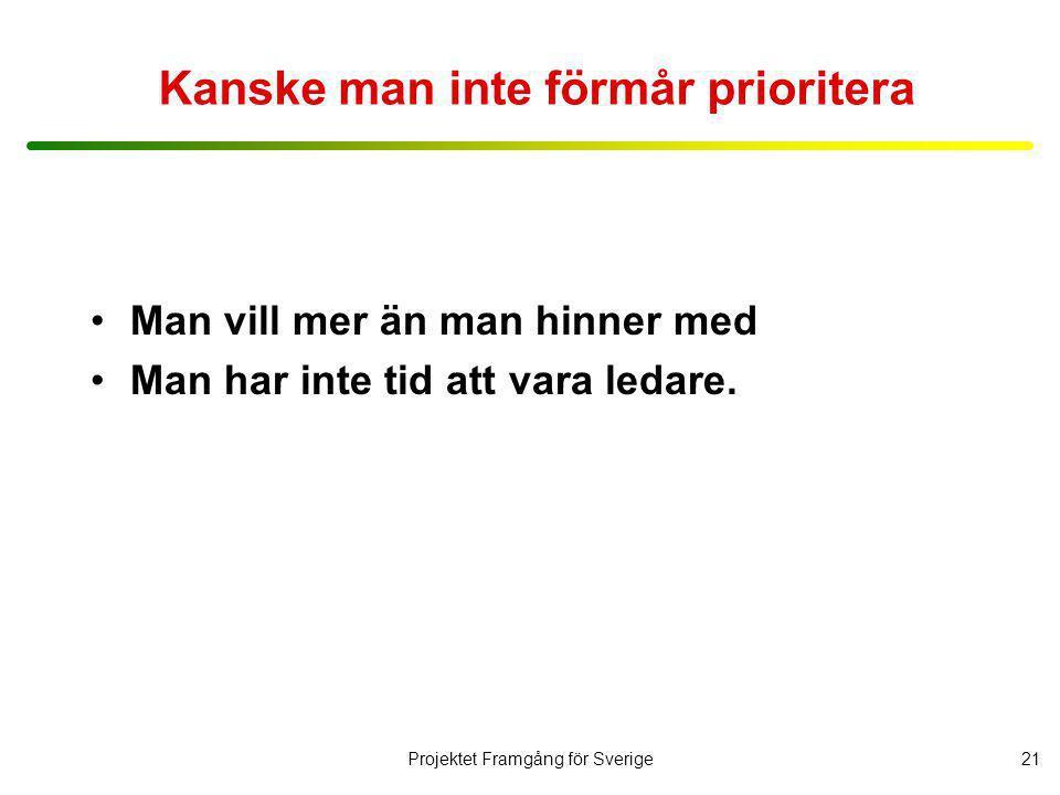 Projektet Framgång för Sverige22 Frågor kring ledarrollen Jag kommer nu att läsa upp några påståenden för dig.