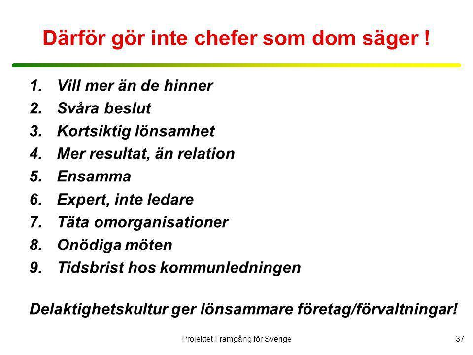 Projektet Framgång för Sverige38 Hur cheferna kan göra, för att bli bättre.
