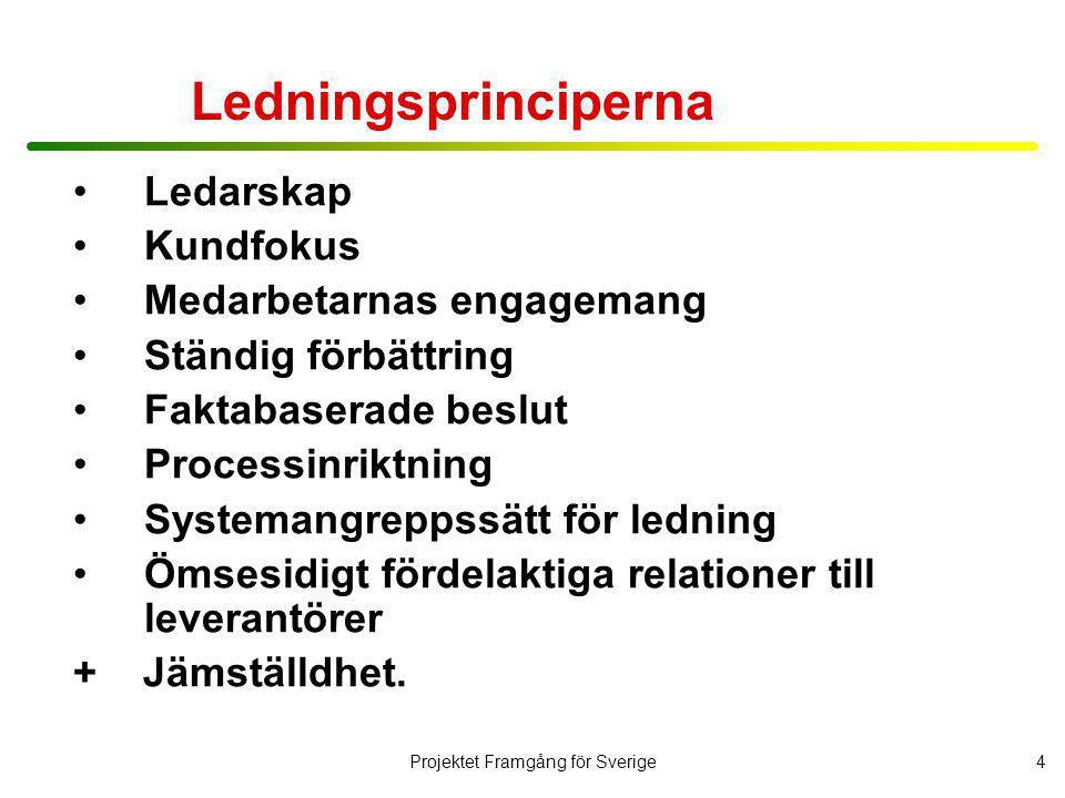Projektet Framgång för Sverige5 Bakgrund och syfte Hösten 2002 genomfördes en GAP-analys mellan vad cheferna i kommunala förvaltningar säger är viktigt och vad man lyckats genomföra.