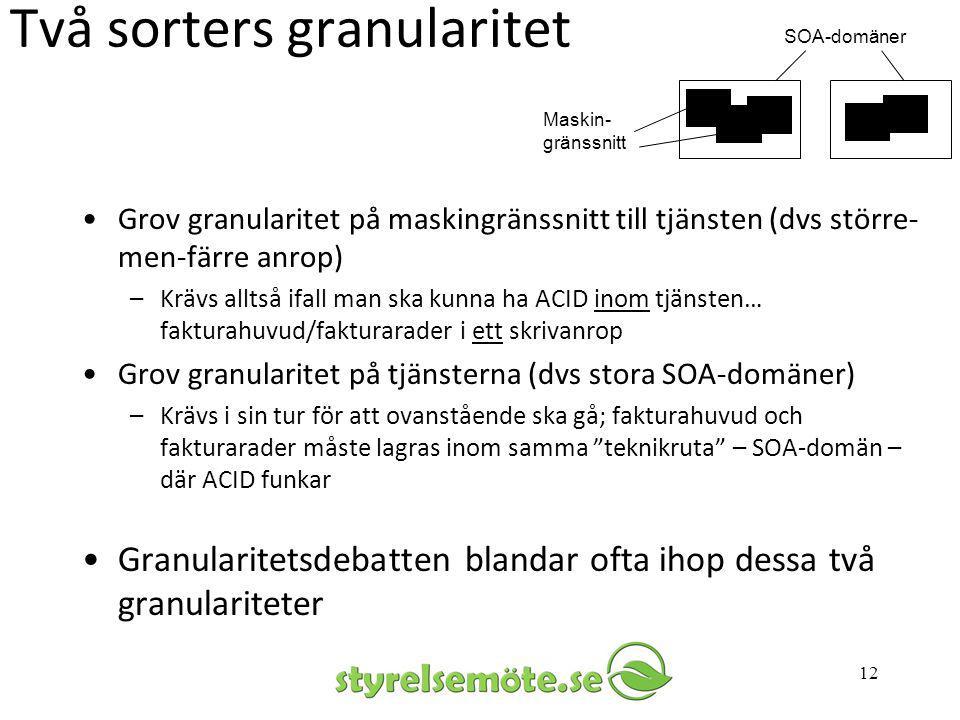 Två sorters granularitet •Grov granularitet på maskingränssnitt till tjänsten (dvs större- men-färre anrop) –Krävs alltså ifall man ska kunna ha ACID
