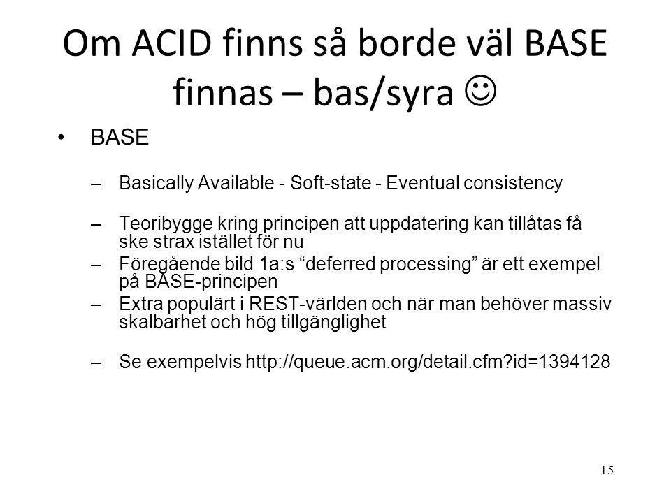 Om ACID finns så borde väl BASE finnas – bas/syra  •BASE –Basically Available - Soft-state - Eventual consistency –Teoribygge kring principen att upp