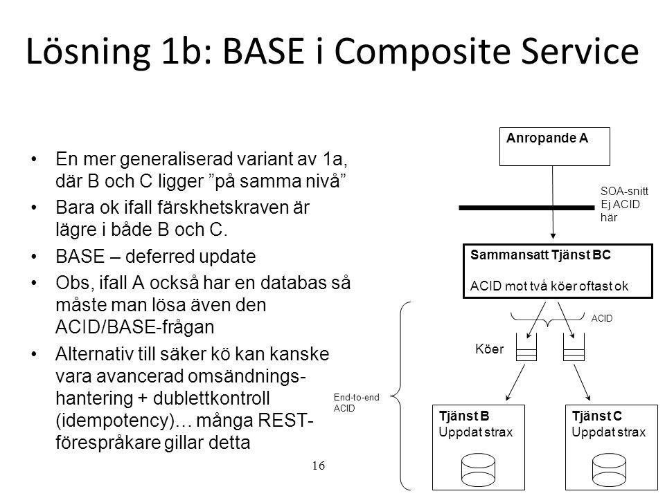 """16 Lösning 1b: BASE i Composite Service •En mer generaliserad variant av 1a, där B och C ligger """"på samma nivå"""" •Bara ok ifall färskhetskraven är lägr"""