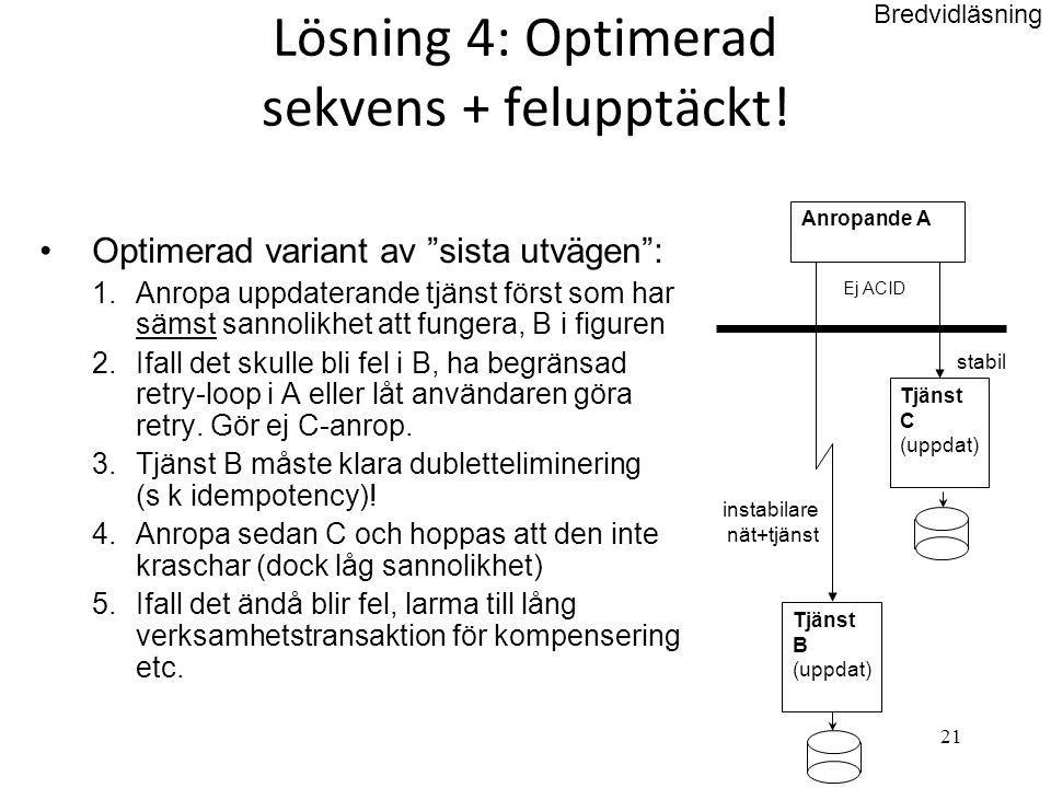 """21 Lösning 4: Optimerad sekvens + felupptäckt! •Optimerad variant av """"sista utvägen"""": 1.Anropa uppdaterande tjänst först som har sämst sannolikhet att"""