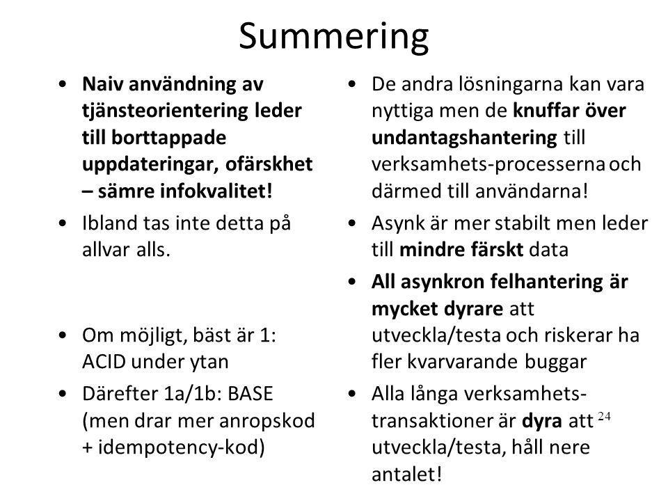 Summering •Naiv användning av tjänsteorientering leder till borttappade uppdateringar, ofärskhet – sämre infokvalitet! •Ibland tas inte detta på allva