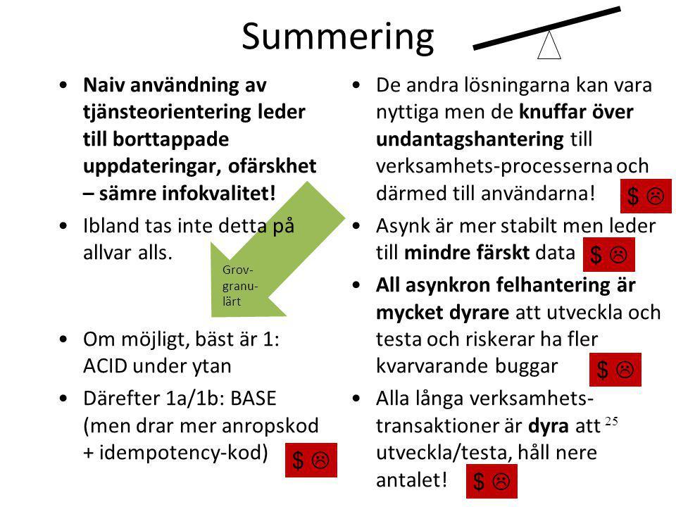 Summering •De andra lösningarna kan vara nyttiga men de knuffar över undantagshantering till verksamhets-processerna och därmed till användarna! •Asyn