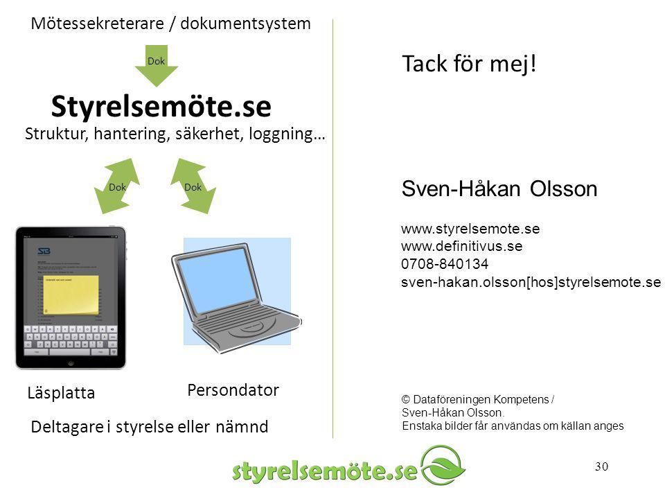 30 Sven-Håkan Olsson www.styrelsemote.se www.definitivus.se 0708-840134 sven-hakan.olsson[hos]styrelsemote.se Tack för mej! © Dataföreningen Kompetens