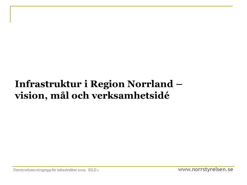 www.norrstyrelsen.se Norrstyrelsens styrgrupp för infrastruktur 2009 BILD 1 Infrastruktur i Region Norrland – vision, mål och verksamhetsidé