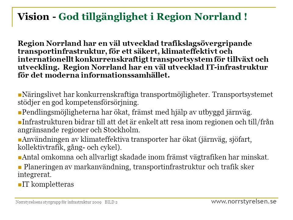 www.norrstyrelsen.se Norrstyrelsens styrgrupp för infrastruktur 2009 BILD 2 Vision - God tillgänglighet i Region Norrland ! Region Norrland har en väl
