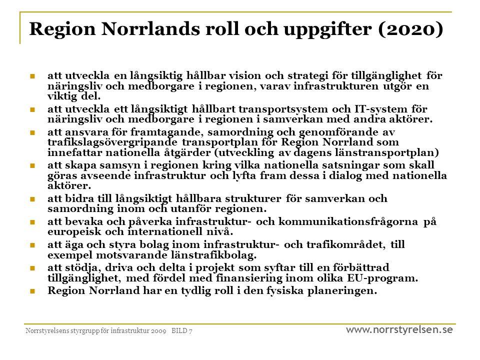 www.norrstyrelsen.se Norrstyrelsens styrgrupp för infrastruktur 2009 BILD 7 Region Norrlands roll och uppgifter (2020)  att utveckla en långsiktig hå