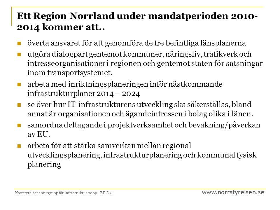 www.norrstyrelsen.se Norrstyrelsens styrgrupp för infrastruktur 2009 BILD 9 Tänkbara steg i närtid …  Skapa en politisk struktur för samsyn inom infrastrukturområdet.