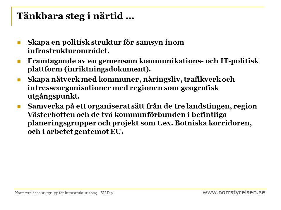 www.norrstyrelsen.se Norrstyrelsens styrgrupp för infrastruktur 2009 BILD 9 Tänkbara steg i närtid …  Skapa en politisk struktur för samsyn inom infr