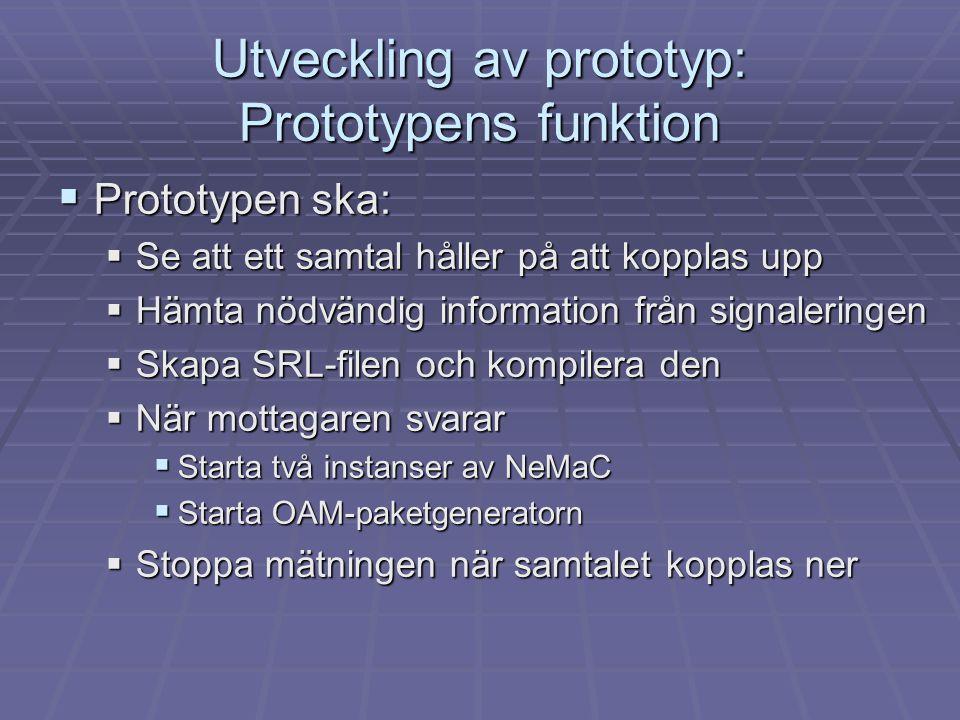 Utveckling av prototyp: Prototypens funktion  Prototypen ska:  Se att ett samtal håller på att kopplas upp  Hämta nödvändig information från signal