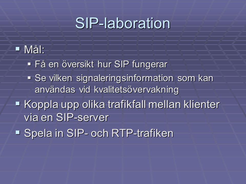 SIP-laboration  Mål:  Få en översikt hur SIP fungerar  Se vilken signaleringsinformation som kan användas vid kvalitetsövervakning  Koppla upp olika trafikfall mellan klienter via en SIP-server  Spela in SIP- och RTP-trafiken