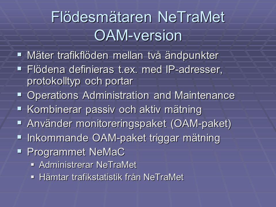 Flödesmätaren NeTraMet OAM-version  Mäter trafikflöden mellan två ändpunkter  Flödena definieras t.ex. med IP-adresser, protokolltyp och portar  Op