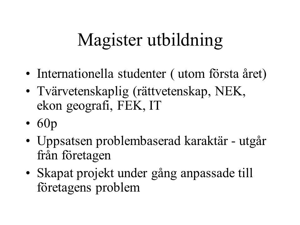 Magister utbildning •Internationella studenter ( utom första året) •Tvärvetenskaplig (rättvetenskap, NEK, ekon geografi, FEK, IT •60p •Uppsatsen probl