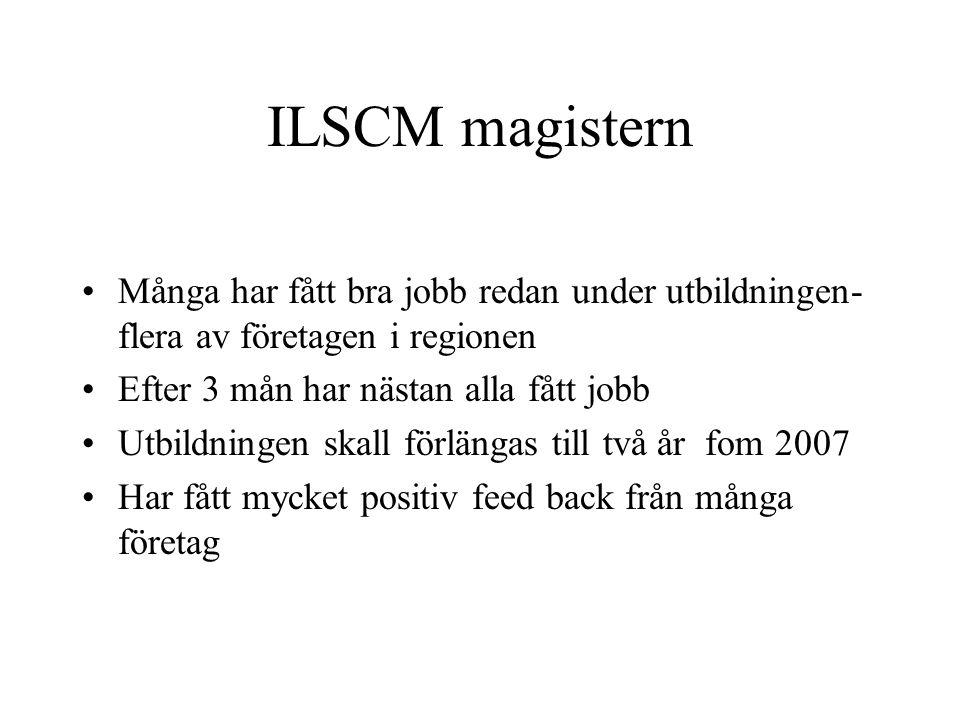 ILSCM magistern •Många har fått bra jobb redan under utbildningen- flera av företagen i regionen •Efter 3 mån har nästan alla fått jobb •Utbildningen