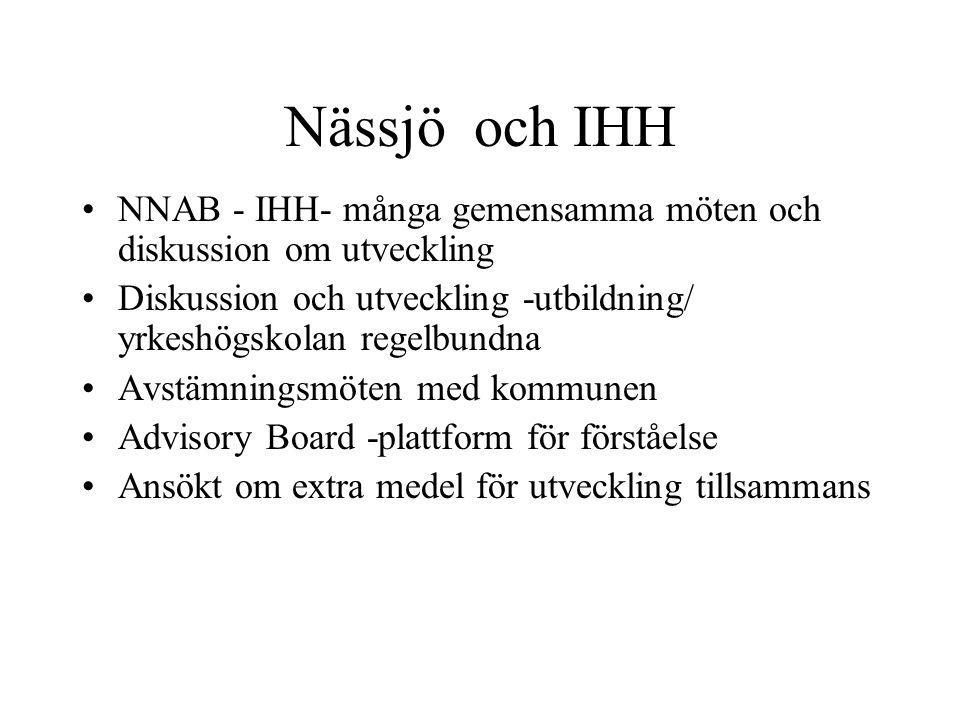 Nässjö och IHH •NNAB - IHH- många gemensamma möten och diskussion om utveckling •Diskussion och utveckling -utbildning/ yrkeshögskolan regelbundna •Av