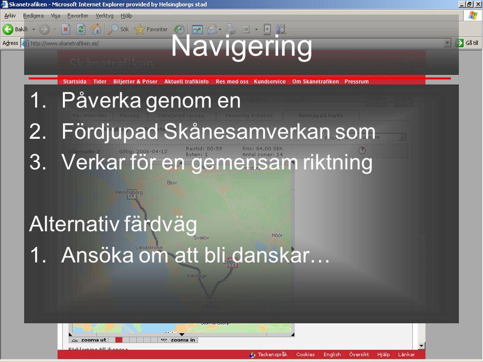 Björn Lahti Stadsbyggnadskontoret Helsingborgs stad Navigering 1.Påverka genom en 2.Fördjupad Skånesamverkan som 3.Verkar för en gemensam riktning Alternativ färdväg 1.Ansöka om att bli danskar…