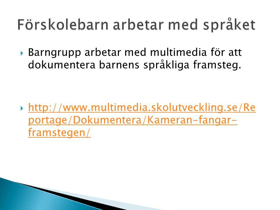  Barngrupp arbetar med multimedia för att dokumentera barnens språkliga framsteg.  http://www.multimedia.skolutveckling.se/Re portage/Dokumentera/Ka