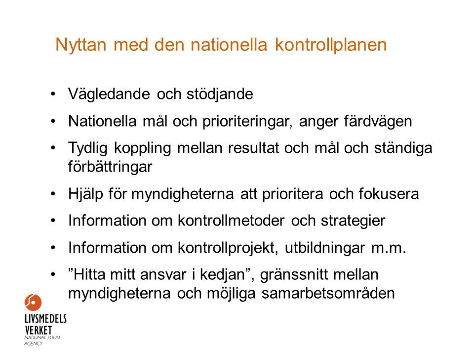 Nyttan med den nationella kontrollplanen •Vägledande och stödjande •Nationella mål och prioriteringar, anger färdvägen •Tydlig koppling mellan resulta