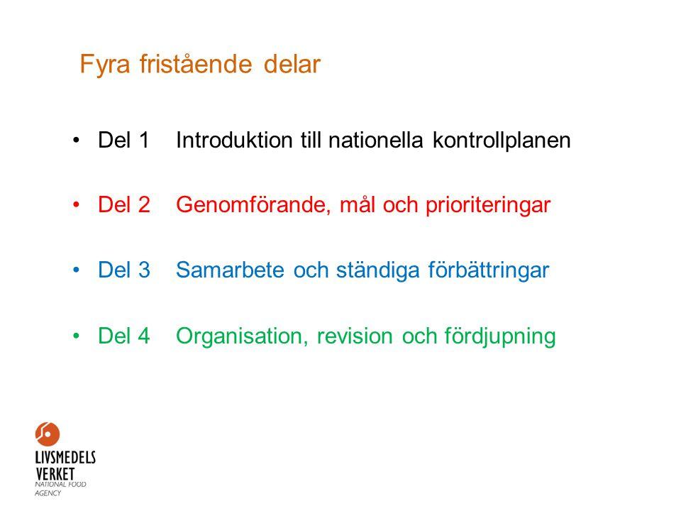 Fyra fristående delar •Del 1 Introduktion till nationella kontrollplanen •Del 2 Genomförande, mål och prioriteringar •Del 3 Samarbete och ständiga förbättringar •Del 4 Organisation, revision och fördjupning