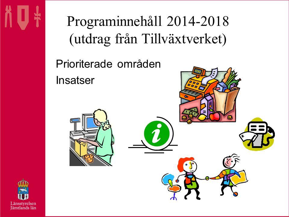 Programinnehåll 2014-2018 (utdrag från Tillväxtverket) Prioriterade områden Insatser