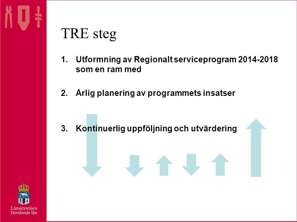 TRE steg 1.Utformning av Regionalt serviceprogram 2014-2018 som en ram med 2.Årlig planering av programmets insatser 3.Kontinuerlig uppföljning och utvärdering