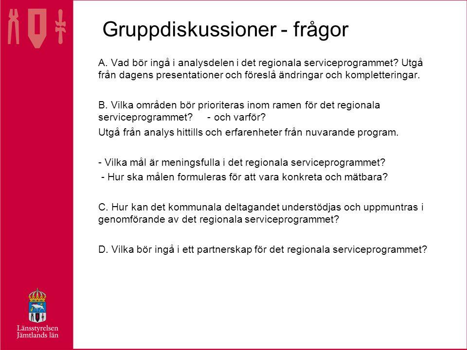 Gruppdiskussioner - frågor A. Vad bör ingå i analysdelen i det regionala serviceprogrammet.