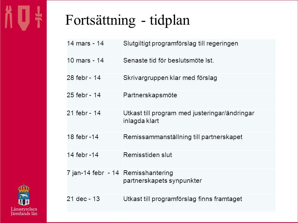 Fortsättning - tidplan 14 mars - 14Slutgiltigt programförslag till regeringen 10 mars - 14Senaste tid för beslutsmöte lst.