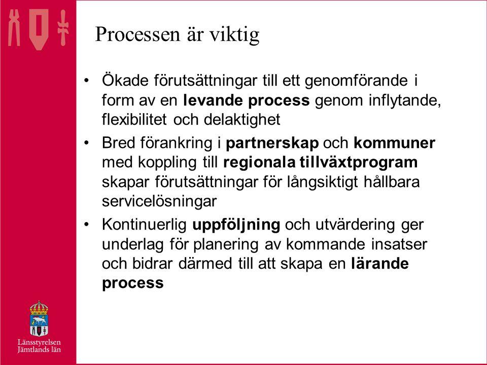 Processen är viktig •Ökade förutsättningar till ett genomförande i form av en levande process genom inflytande, flexibilitet och delaktighet •Bred förankring i partnerskap och kommuner med koppling till regionala tillväxtprogram skapar förutsättningar för långsiktigt hållbara servicelösningar •Kontinuerlig uppföljning och utvärdering ger underlag för planering av kommande insatser och bidrar därmed till att skapa en lärande process