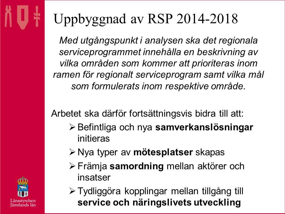 Uppbyggnad av RSP 2014-2018 Med utgångspunkt i analysen ska det regionala serviceprogrammet innehålla en beskrivning av vilka områden som kommer att prioriteras inom ramen för regionalt serviceprogram samt vilka mål som formulerats inom respektive område.