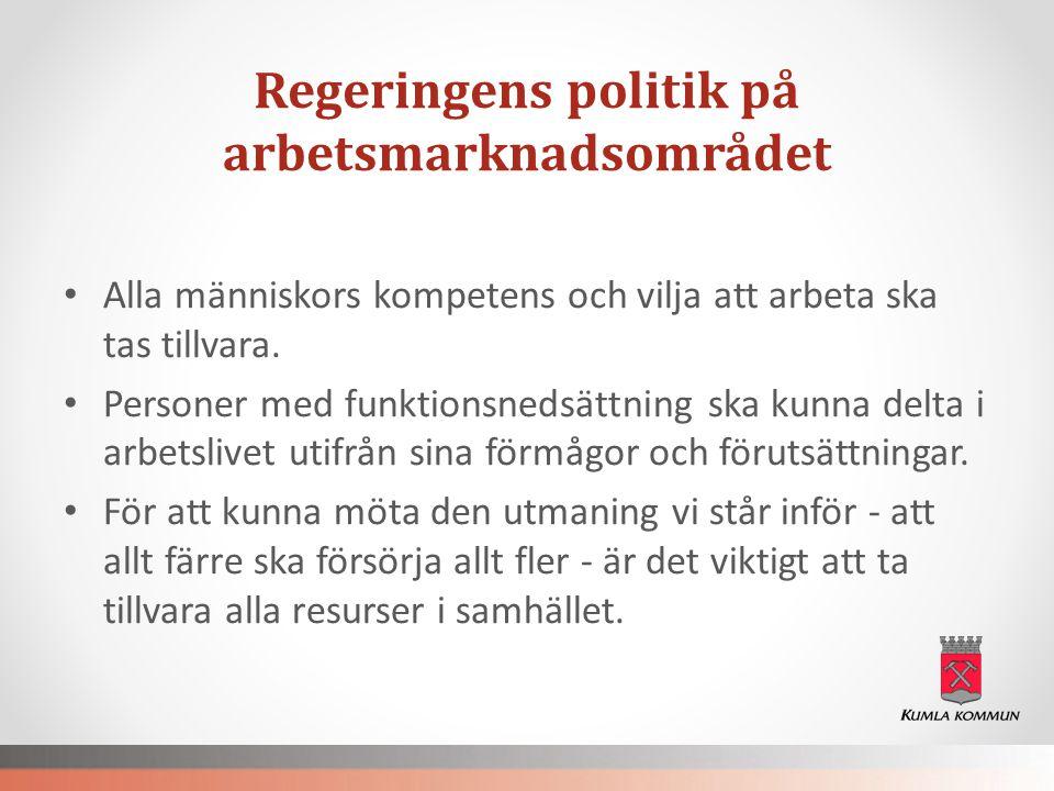 Regeringens politik på arbetsmarknadsområdet • Alla människors kompetens och vilja att arbeta ska tas tillvara. • Personer med funktionsnedsättning sk