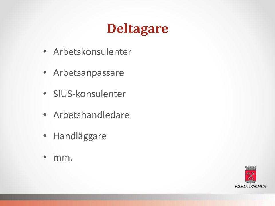 Deltagare • Arbetskonsulenter • Arbetsanpassare • SIUS-konsulenter • Arbetshandledare • Handläggare • mm.