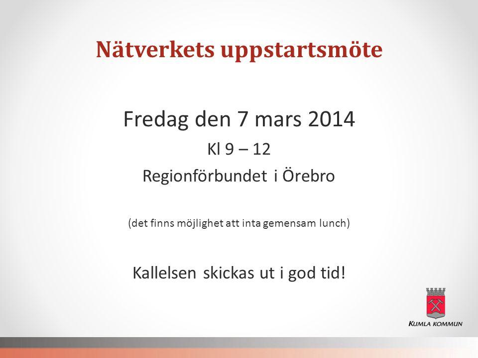 Nätverkets uppstartsmöte Fredag den 7 mars 2014 Kl 9 – 12 Regionförbundet i Örebro (det finns möjlighet att inta gemensam lunch) Kallelsen skickas ut