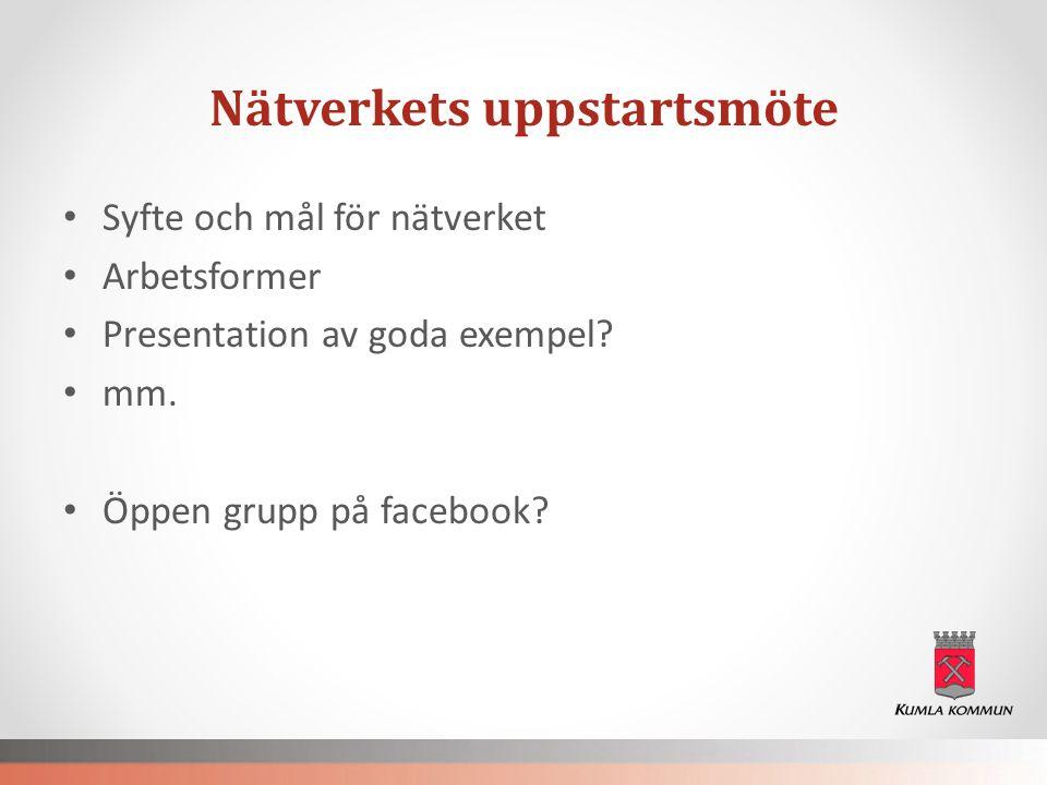 Nätverkets uppstartsmöte • Syfte och mål för nätverket • Arbetsformer • Presentation av goda exempel? • mm. • Öppen grupp på facebook?