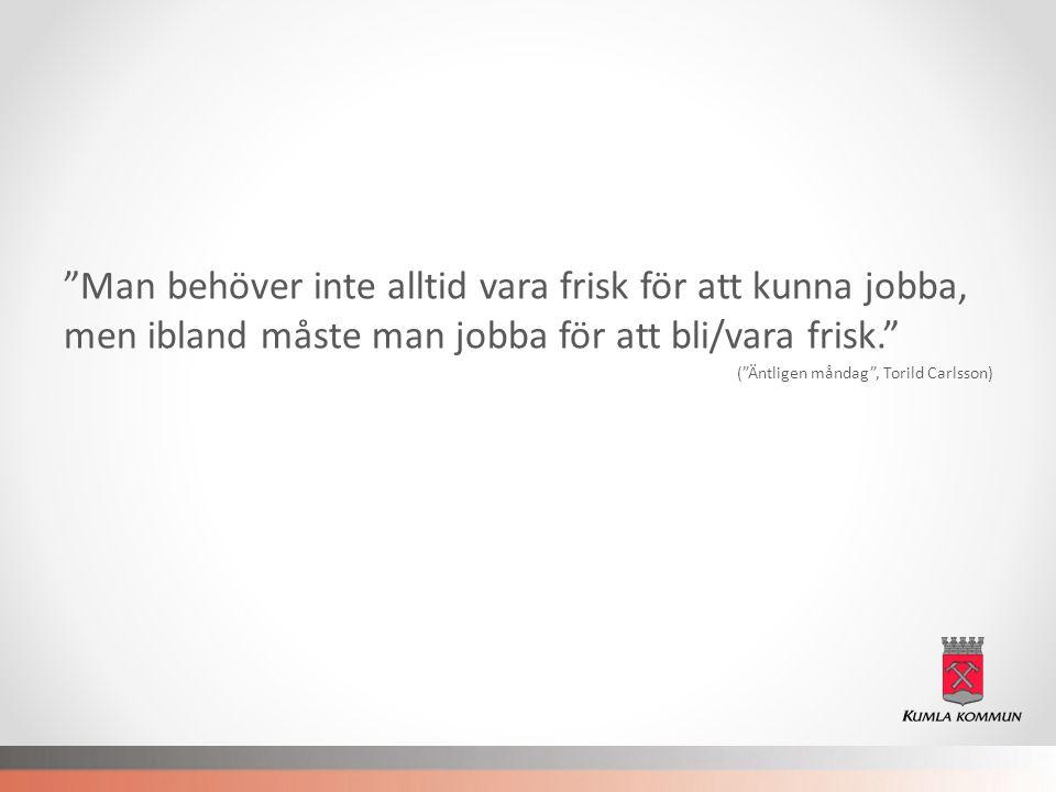 """""""Man behöver inte alltid vara frisk för att kunna jobba, men ibland måste man jobba för att bli/vara frisk."""" (""""Äntligen måndag"""", Torild Carlsson)"""