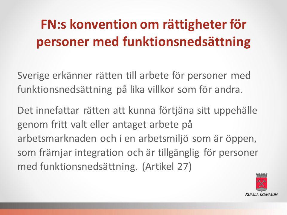 FN:s konvention om rättigheter för personer med funktionsnedsättning Sverige erkänner rätten till arbete för personer med funktionsnedsättning på lika